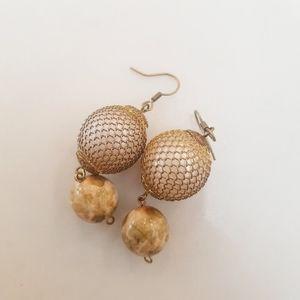 Glass Marble Netted Bead Earrings